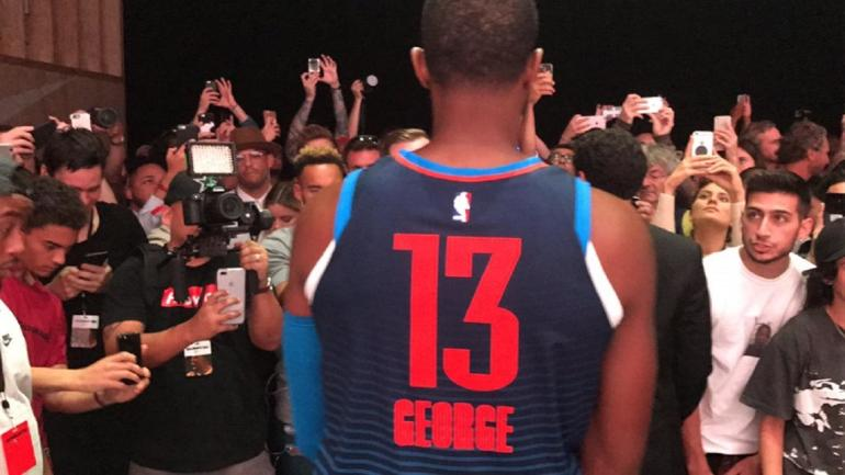 86879586784 Paul George talks MVP and models new Thunder statement jersey at Nike event  - CBSSports.com