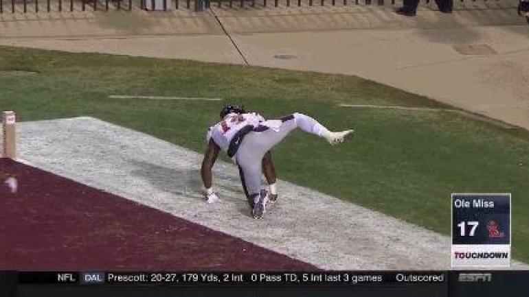 WATCH: Ole Miss WR marks his territory like a dog in Egg Bowl TD celebration