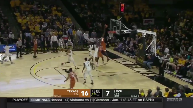 WATCH: Texas' Mo Bamba does Giannis Antetokounmpo impression in dunk over VCU defender ...