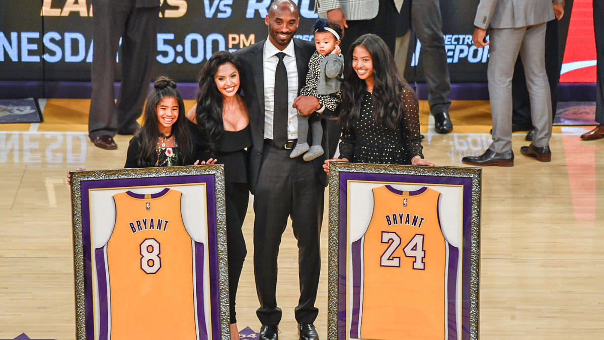 best service 00fa1 0790d Kobe Bryant jersey retirement: Lakers hang No. 8, No. 24 in ...