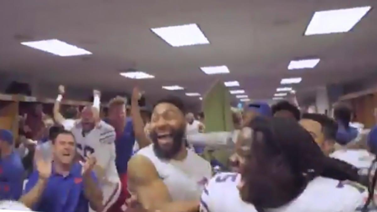 Watch Bills Locker Room Goes Nuts After Bengals Game Winning Td Over Ravens Cbssports Com