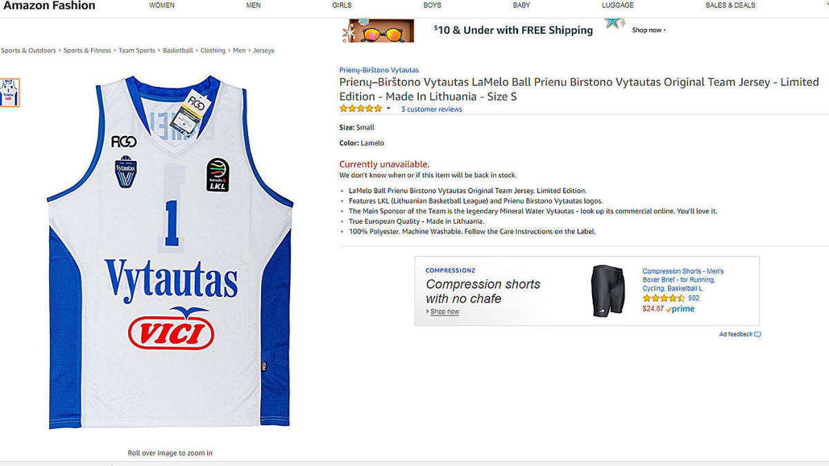 040430e79a3 LOOK: LaMelo and LiAngelo Ball Lithuanian jerseys are sold out on Amazon -  CBSSports.com