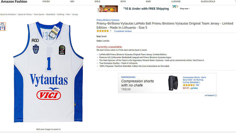 a5c5c3a9314 LOOK  LaMelo and LiAngelo Ball Lithuanian jerseys are sold out on Amazon -  CBSSports.com