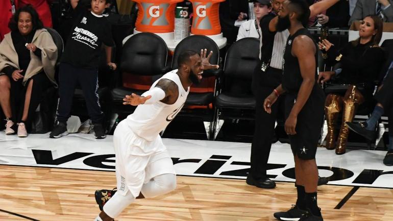 1811182b86cbaa 2018 NBA All-Star Game  Watch Kyrie Irving assist LeBron James on winning  bucket - CBSSports.com