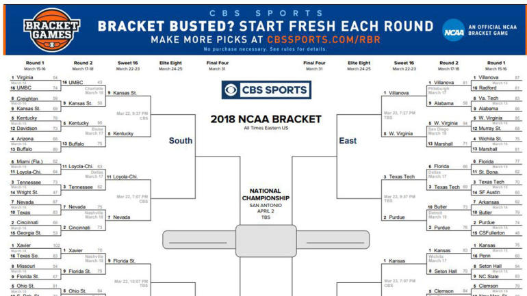 ncaa championship bracket  michigan vs  villanova title