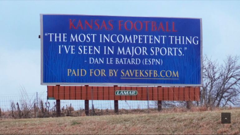 2018 College Bowl Schedule >> LOOK: Kansas football fans put up interstate billboard, call for dismissal of AD - CBSSports.com