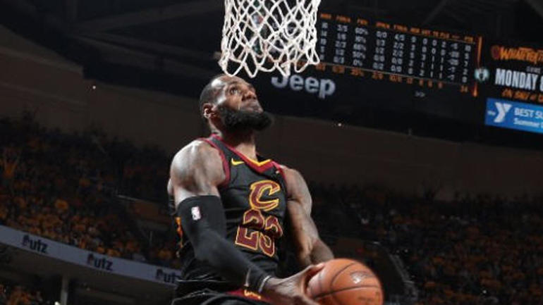celtics vs cavaliers lebron james throws down dunk contest worthy