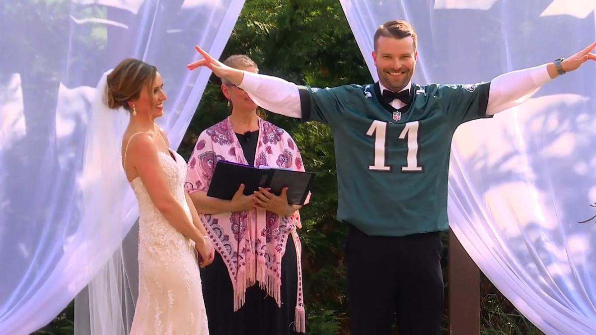 Carson Wentz Wedding.Look Groom Rocks Carson Wentz Jersey At The Altar After Winning His