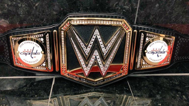 the capitals got their own custom wwe belt from triple h