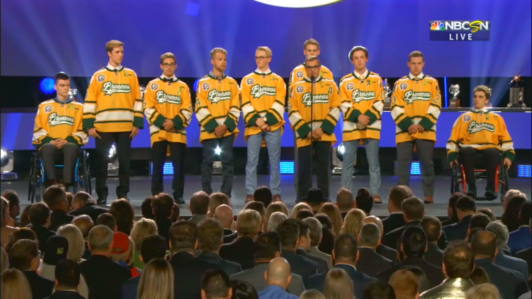 a11d670fc NHL Awards 2018  Humboldt Broncos survivors reunite on stage for first time  since fatal bus accident - CBSSports.com