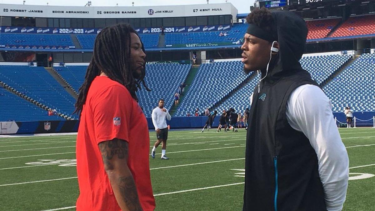 65b83596e Cam Newton confronts Kelvin Benjamin on field pregame and things get  awkward - CBSSports.com
