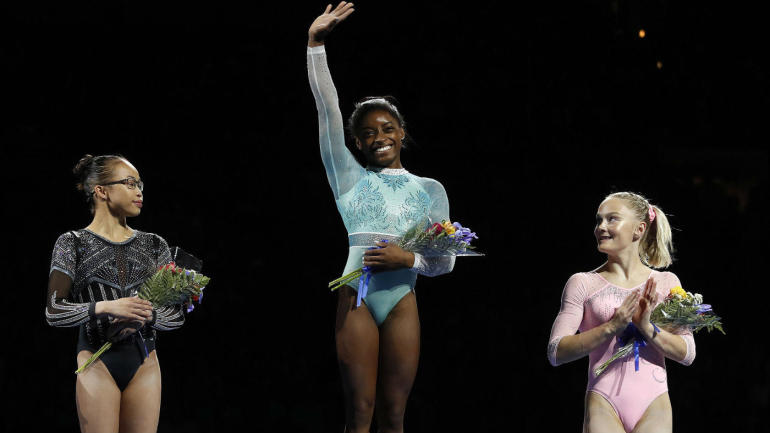 Simone Biles becomes first to win five U.S. all-around titles while honoring sexual abuse survivors