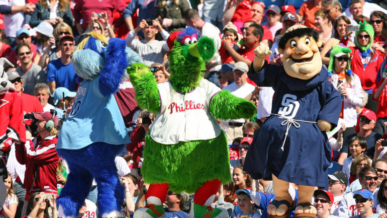 Phillies-rays-padres-mascots