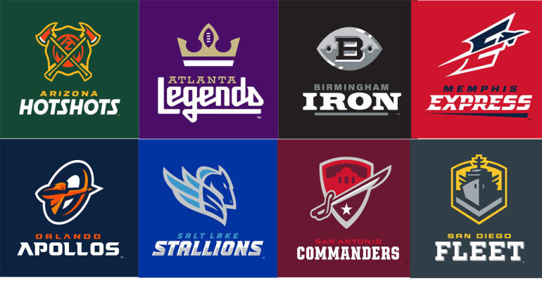 d816db438e2 LOOK  Here s a full list of team names and logos from the Alliance of American  Football - CBSSports.com