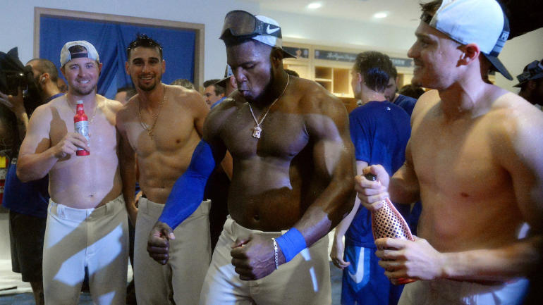 Yasiel Puig guarantees Dodgers will win World Series while shirtless and drenched in beer ...