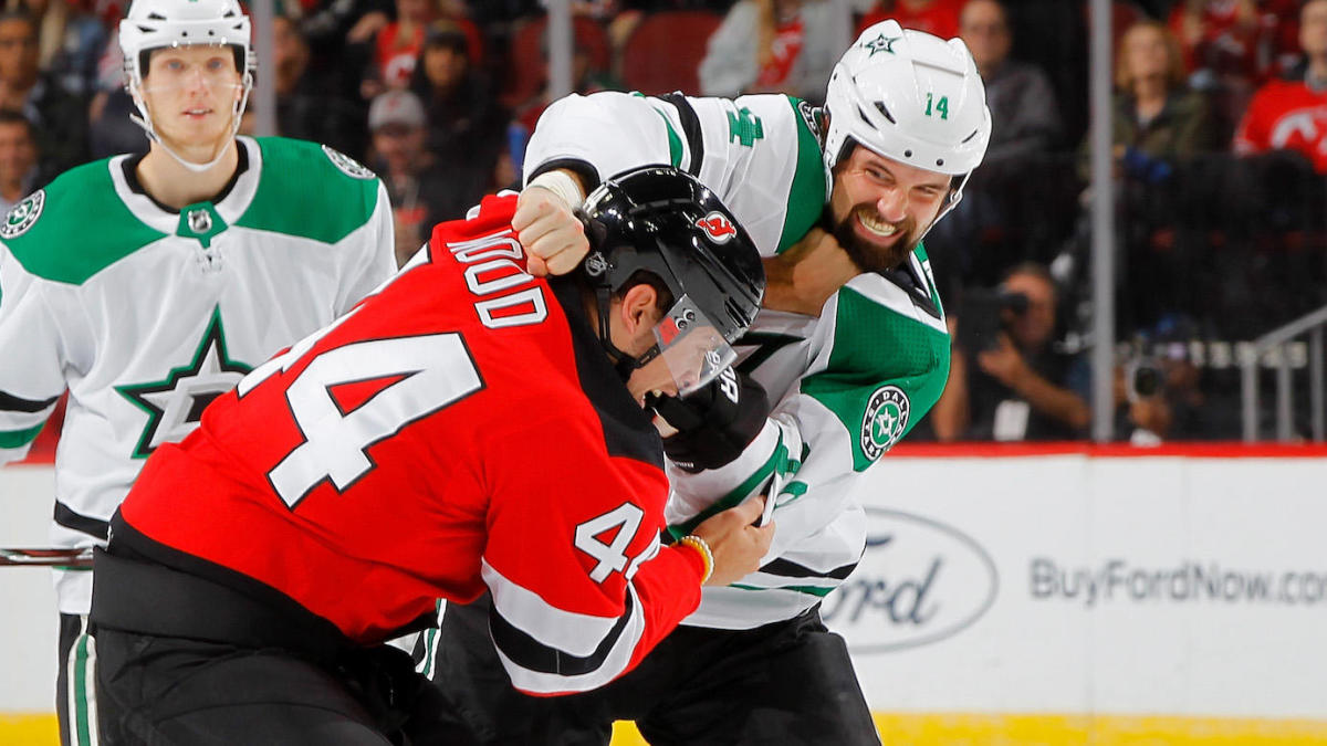 various colors b8774 8137e Jamie Benn and Miles Wood went toe-to-toe in a heavy, old ...