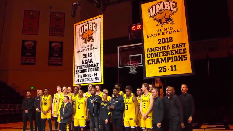 look  umbc basketball team raises banner commemorating