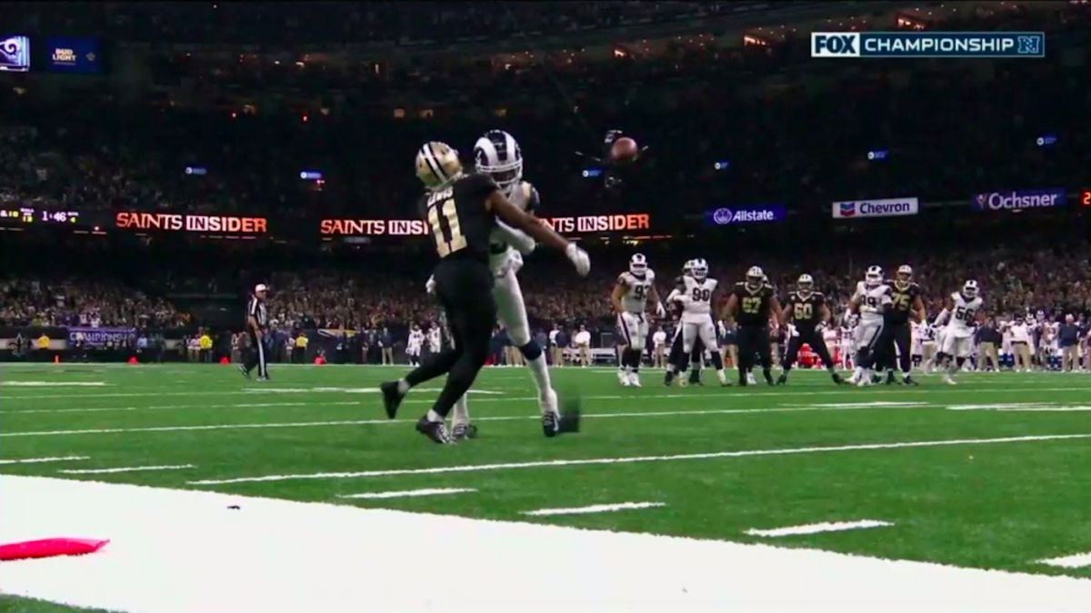 9a363a49f3200f Officials miss blatant pass-interference penalty, leading to Rams'  come-from-behind win over Saints - CBSSports.com