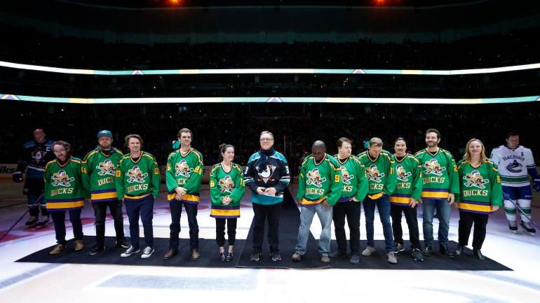 ec2d0a6bc  The Mighty Ducks  cast members reunite to drop ceremonial puck before Anaheim  Ducks game - CBSSports.com