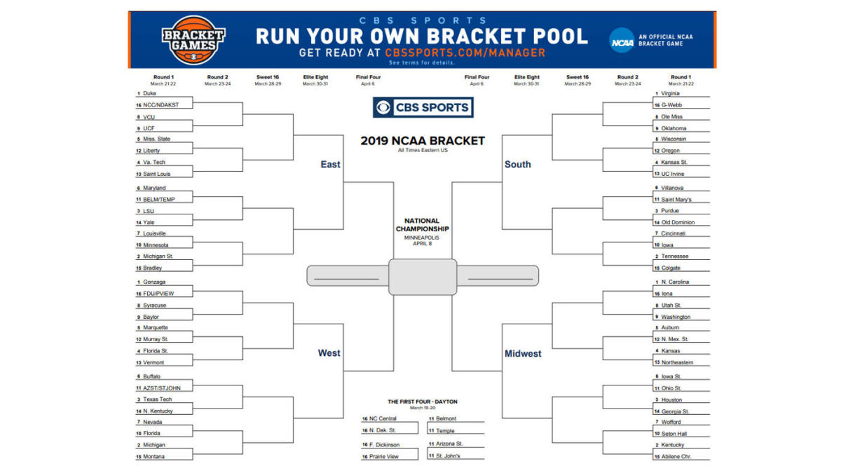 image regarding Printable Bachelor Bracket known as Image :: NCAA bracket 2019: Printable March Insanity bracket