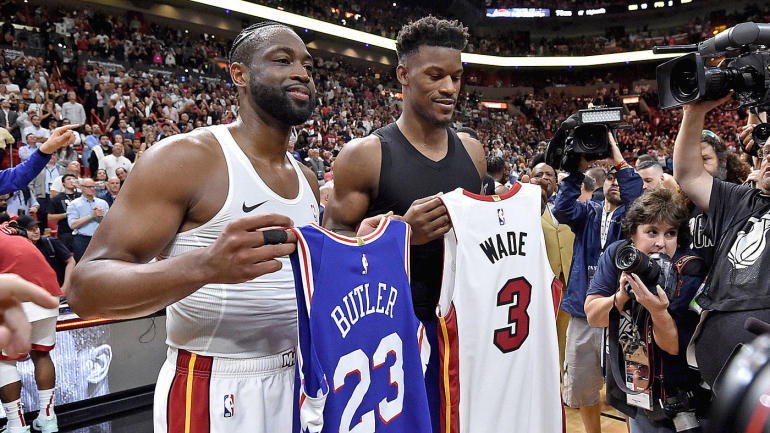8c53879eea6d Dwyane Wade s final game in Miami ends with special jersey swap with Jimmy  Butler