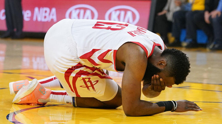 db87dcec88b Warriors vs. Rockets  James Harden suffers laceration on left eyelid in Game  2