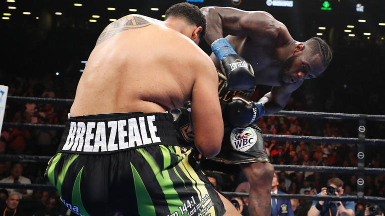 Deontay Wilder obliterates Dominic Breazeale in first round with emphatic knockout punch - CBS Sports thumbnail