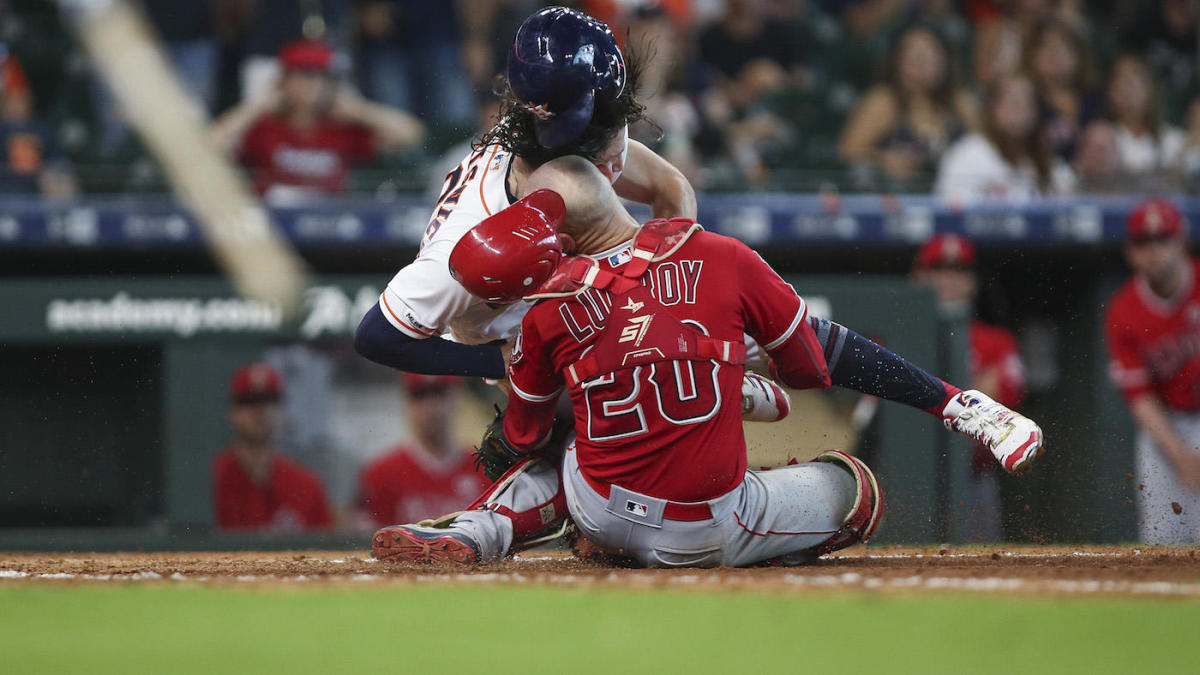Angels plunk Jake Marisnick in first meeting since collision left Jonathan Lucroy concussed, hospitalized