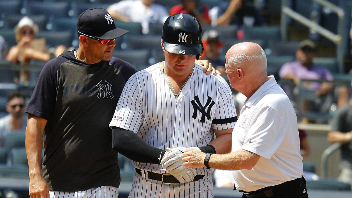 Luke Voit hit in face by pitch, but it appears the Yankees slugger has avoided serious injury