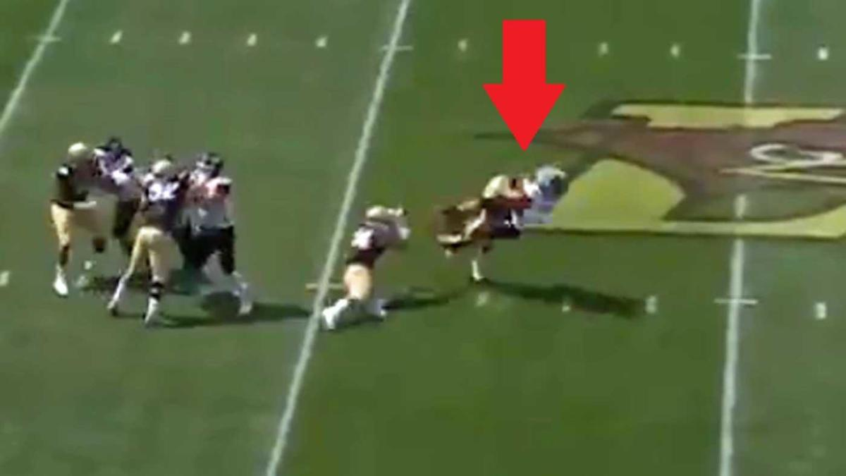 WATCH: Lehigh player shows no mercy, spears St. Francis punter WWE-style for fumble return TD