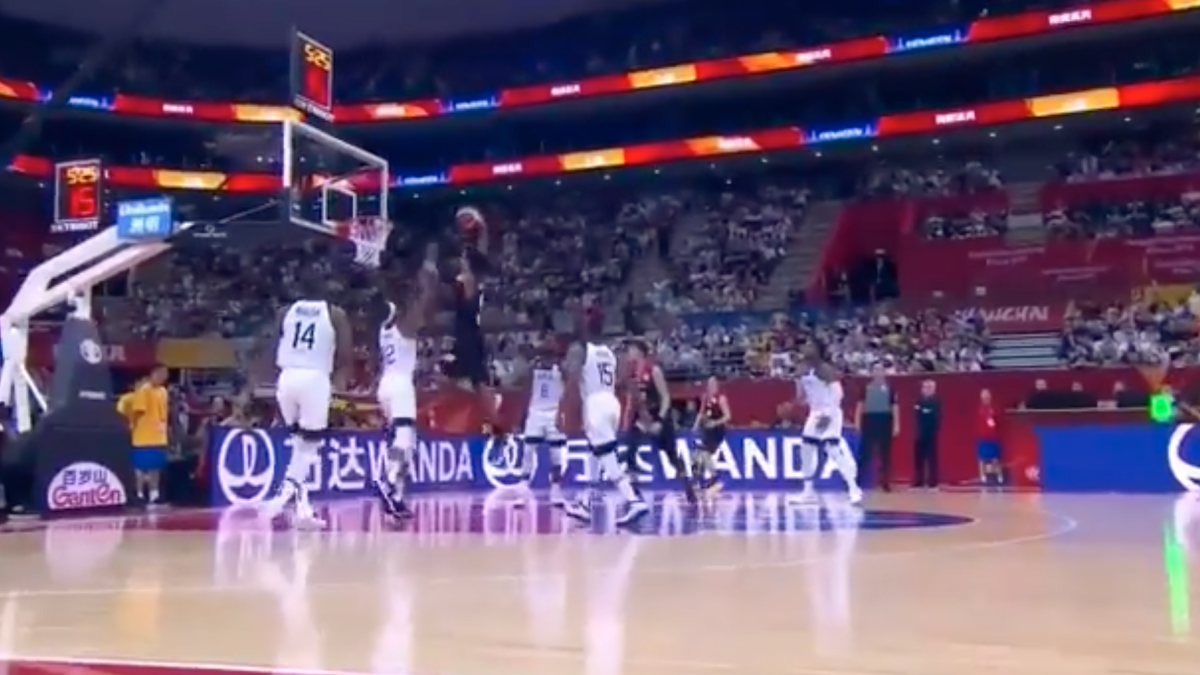 Rui Hachimura posterizes Team USA's Myles Turner during FIBA World Cup game