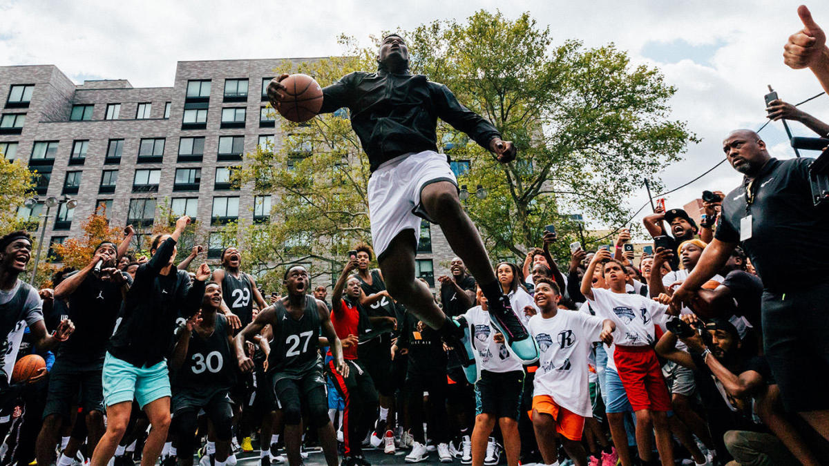 Zion Williamson unveils new Jordan XXXIV shoes with between-the-legs dunk in New York City