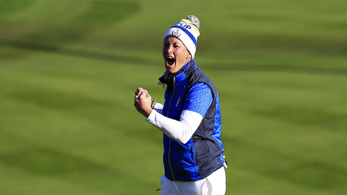 Look Suzann Pettersen Heads Off Into Retirement With Thrilling Solheim Cup Walk Off Putt Cbssports Com