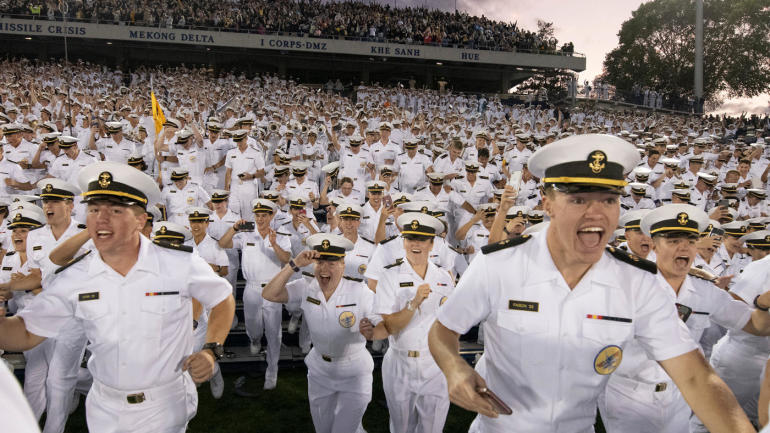 WATCH: Navy midshipmen storm the field after taking down Air Force with wild comeback