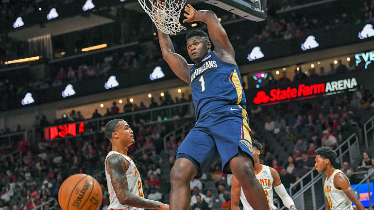 Zion Williamson records first NBA dunk on an alley-oop to give Pelicans first points of the night