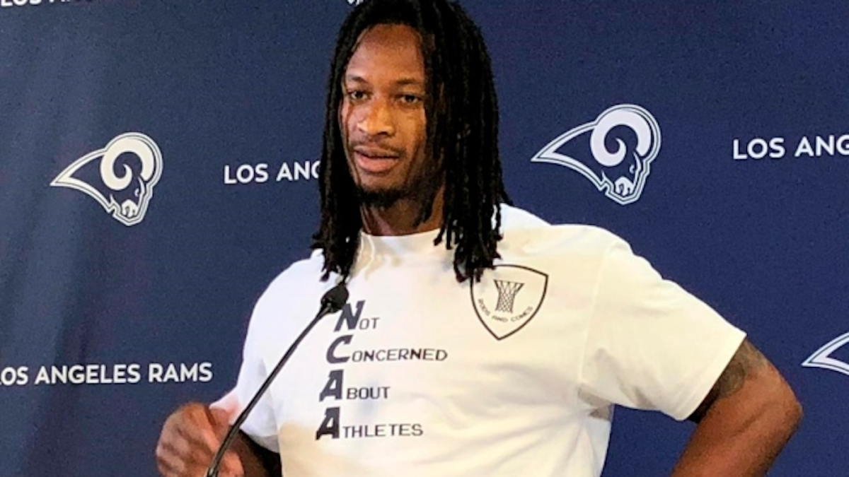Rams running back Todd Gurley wears anti-NCAA shirt, voices support for college athletes getting paid