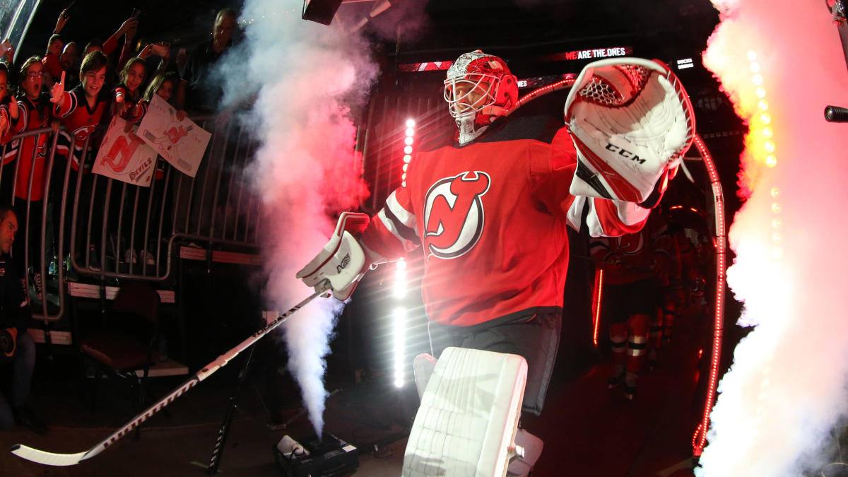 New Jersey Devils use children's drawings during player introductions on 'Kids Day'