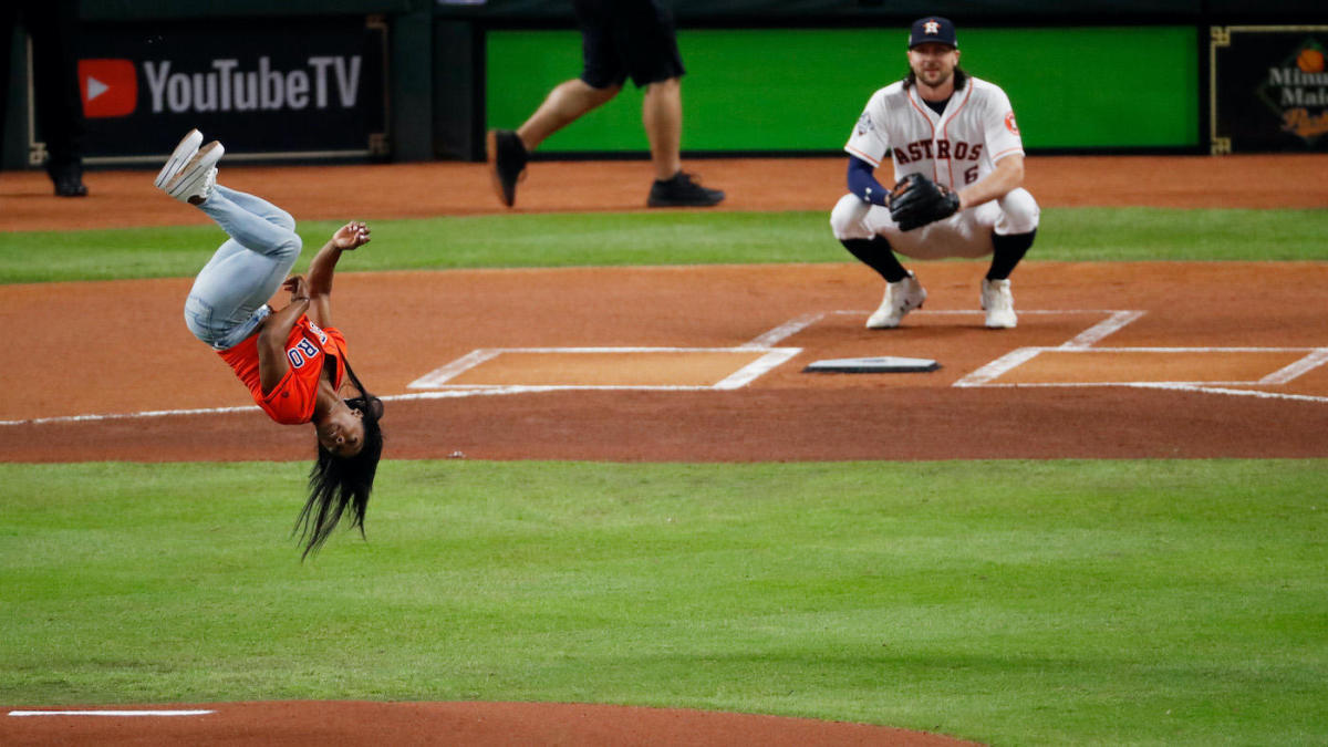World Series: Simone Biles backflips, throws out first pitch before Game 2
