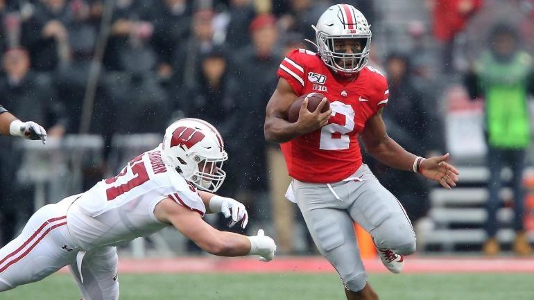 Watch Ohio State S J K Dobbins Puts Defender Into The Turf