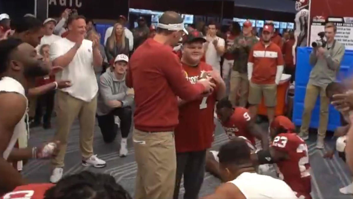Oklahoma presents bullying victim Rayden Overbay, a 12-year-old with special needs, with game ball