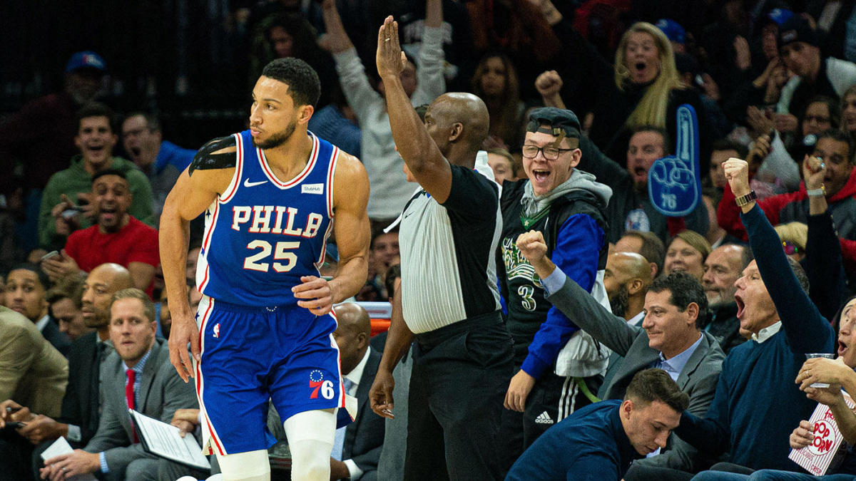 76ers' Ben Simmons finally drains his first career 3-pointer during an NBA regular-season game