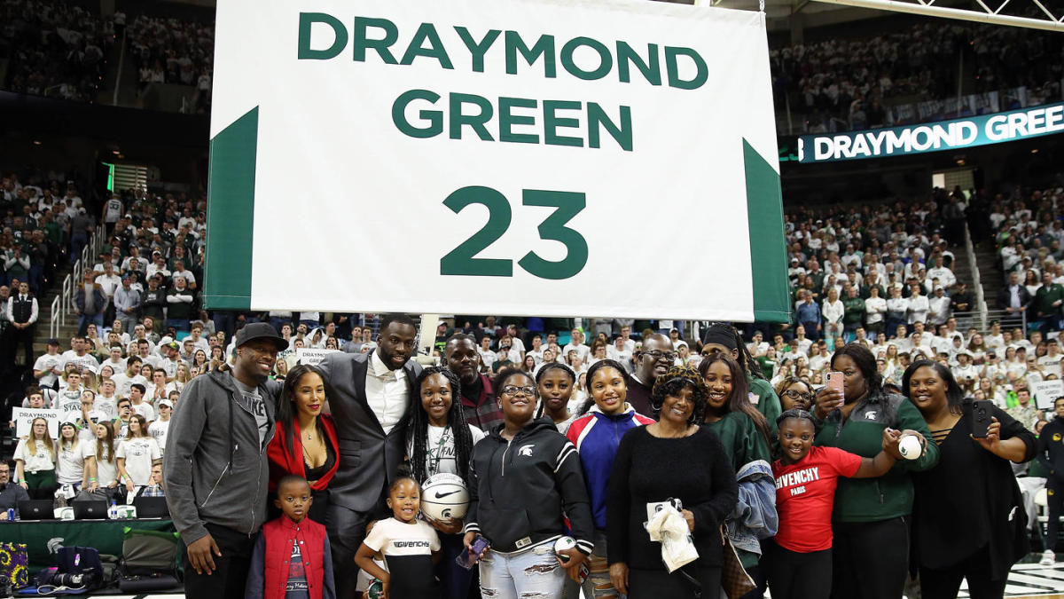 Draymond Green has No. 23 jersey number retired by Michigan State in front of Steve Kerr, Klay Thompson