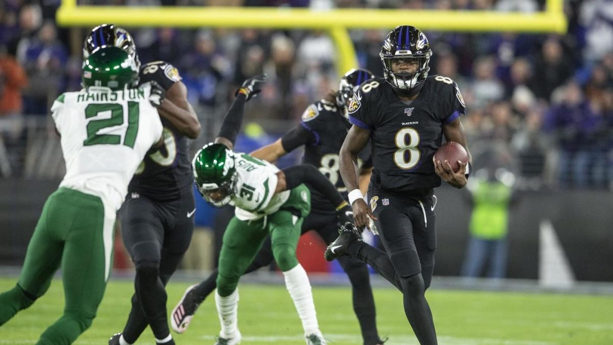 Jets at Ravens final score: Lamar Jackson has another five touchdown game as Baltimore rolls - CBSSports.com