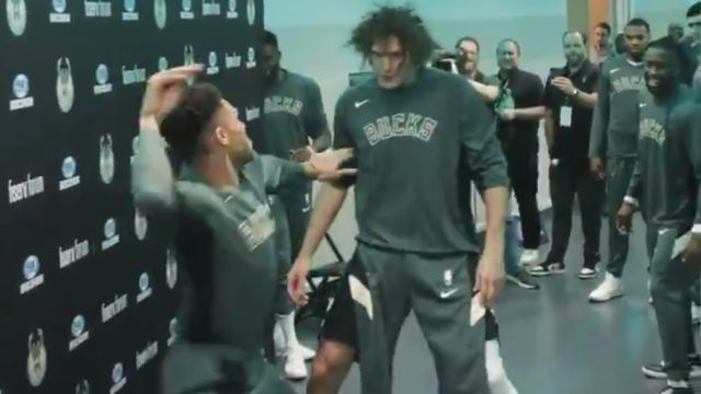 Watch Bucks Pregame Wrestling Routine Quickly Becoming A Regular