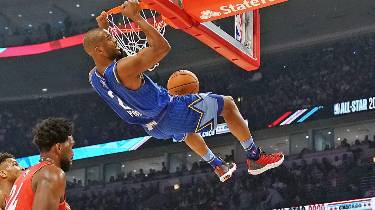Nba All Star Game Chris Paul Throws Down First Alley Oop Dunk Of His Career On Russell Westbrook Lob Pass Cbssports Com