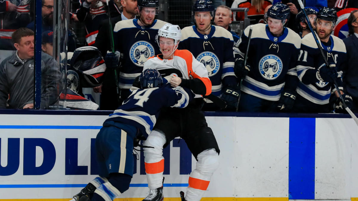 Blue Jackets' Nathan Gerbe puts huge hit on Flyers' Claude Giroux, immediately takes down Travis Sanheim