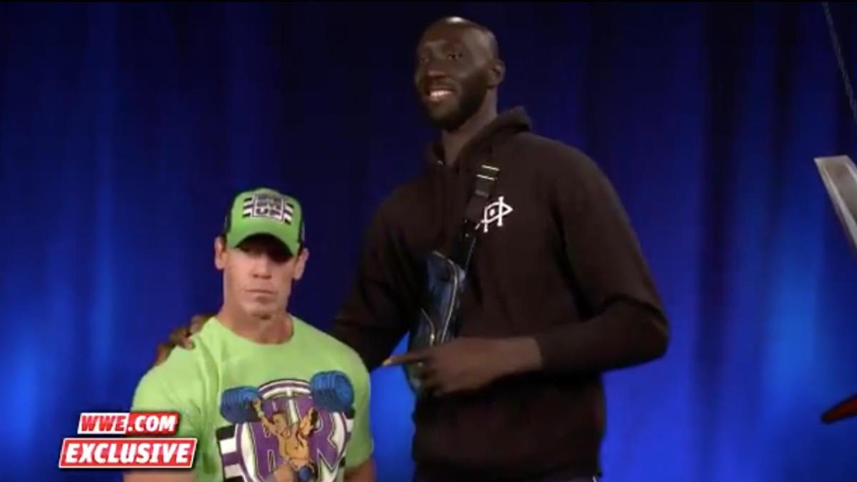 Boston Celtics' Tacko Fall meets John Cena at WWE SmackDown and hilariously towers over him