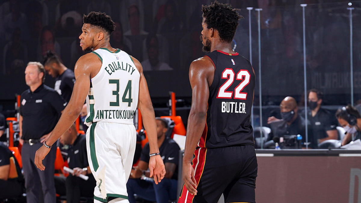 Bucks Vs Heat Giannis Antetokounmpo Explains Why He Didn T Switch Onto Jimmy Butler Down Stretch In Game 1 Cbssports Com