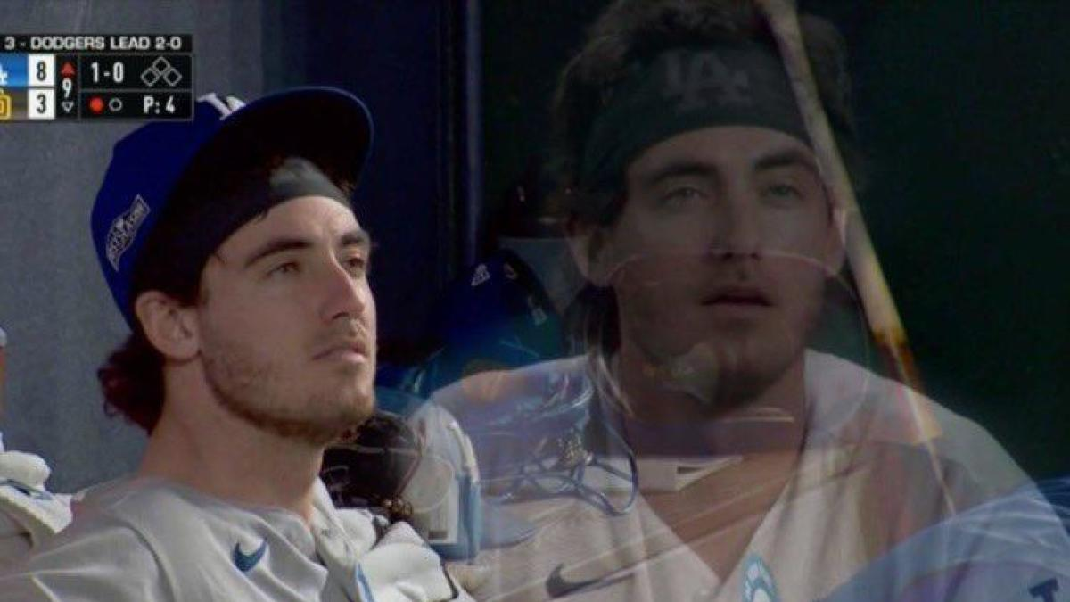 Dodgers' Cody Bellinger says despite the World Series meme, he isn't high all the time, that's just his face