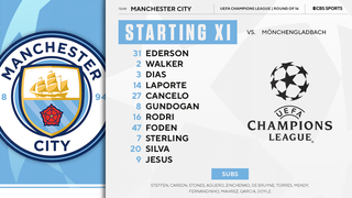 Monchengladbach Vs Manchester City Starting Lineups For Uefa Champions League Round Of 16 Matchup Cbssports Com